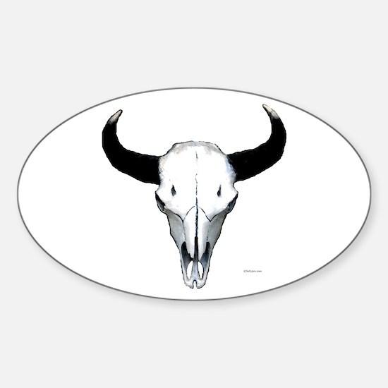 Buffalo skull European mount Sticker (Oval)
