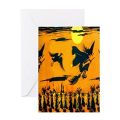 Flying Witches Greeting Card