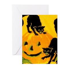 Pumpkin Cats Greeting Cards (Pk of 10)