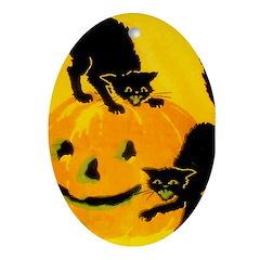 Pumpkin Cats Ornament (Oval)