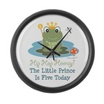Frog Prince 5th Birthday Large Wall Clock