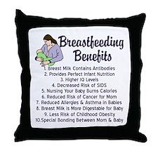 Breastfeeding Benefits Throw Pillow