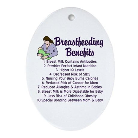Breastfeeding Benefits Ornament (Oval)
