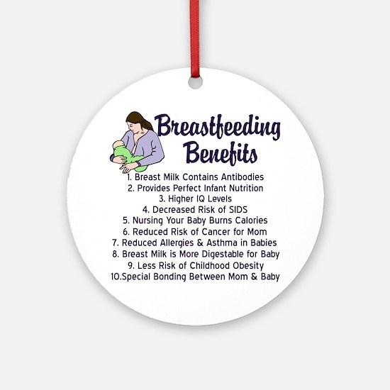 Breastfeeding Benefits Ornament (Round)