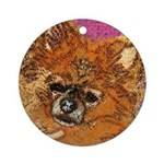 Long Haired Chihuahua Ornament (Round)