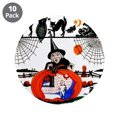 "Witch Pumpkin 3.5"" Button (10 pack)"