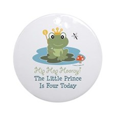 Frog Prince 4th Birthday Ornament (Round)