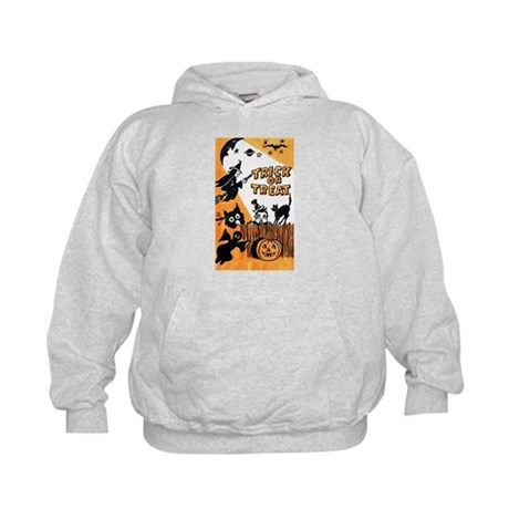Vintage Trick or Treat Image Kids Hoodie