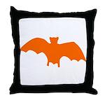 Orange Batty Throw Pillow