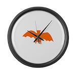 Orange Batty Large Wall Clock