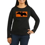 Orange Batty Women's Long Sleeve Dark T-Shirt
