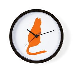 Orange Kitty Wall Clock