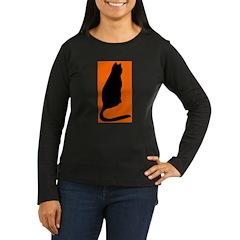 Orange Kitty Women's Long Sleeve Dark T-Shirt