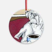 Coffee Boxer (white) Ornament (Round)