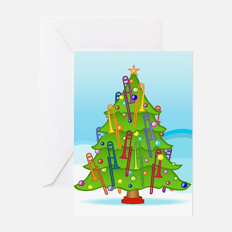 Trombone Christmas Greeting Card