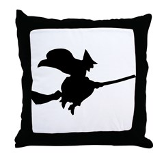 Flying Witch Throw Pillow