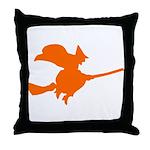 Orange Witch Throw Pillow