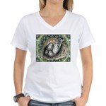 Nesting Pigeons Decorative Women's V-Neck T-Shirt
