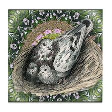 Nesting Pigeons Decorative Tile Coaster