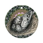 Nesting Pigeons Decorative Ornament (Round)