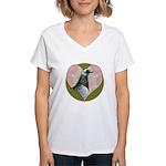 Racing Pigeon Heart Women's V-Neck T-Shirt