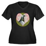 Racing Pigeon Heart Women's Plus Size V-Neck Dark