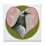 Racing Pigeon Heart Tile Coaster
