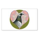 Racing Pigeon Heart Sticker (Rectangle 50 pk)