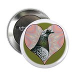 "Racing Pigeon Heart 2.25"" Button (10 pack)"