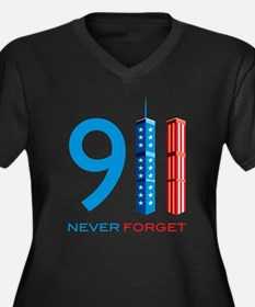 911 - Never Forget Women's Plus Size V-Neck Dark T