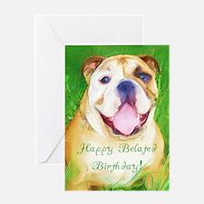 Happy Belated Birthday Bulldog Card
