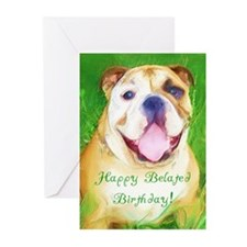 Happy Belated Birthday Bulldo Greeting Cards (Pk o