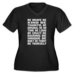 Just Be Women's Plus Size V-Neck Dark T-Shirt