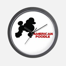 Cute Flag poodle Wall Clock