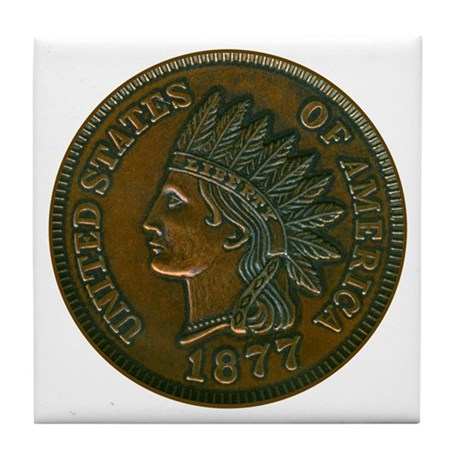 The indian head penny tile coaster by indianpenny for Penny coasters