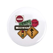 """Road Signs 3.5"""" Button"""