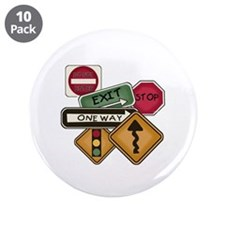 "Road Signs 3.5"" Button (10 pack)"