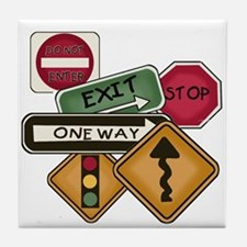 Road Signs Tile Coaster