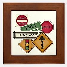 Road Signs Framed Tile