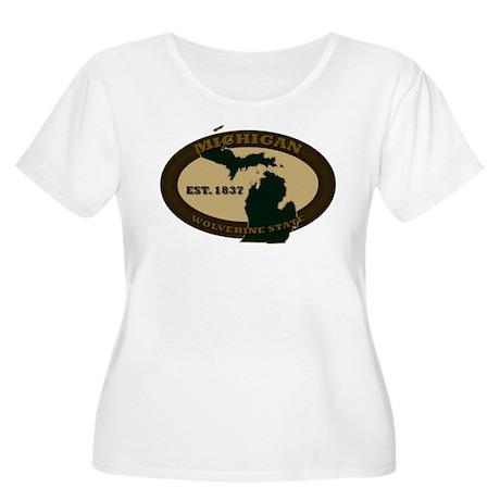 Michigan Est. 1837 Women's Plus Size Scoop Neck T-