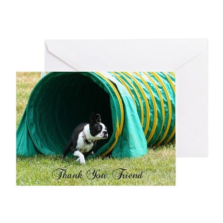 Thank You Friend Boston Terrier Greeting Card