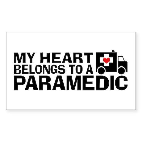 My Heart Belongs To A Paramedic Sticker (Rectangle