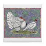 White Holland Turkeys Tile Coaster