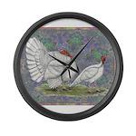 White Holland Turkeys Large Wall Clock