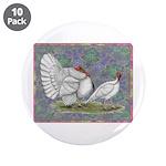 """White Holland Turkeys 3.5"""" Button (10 pack)"""