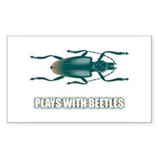 Plays With Beetles Rectangle Stickers