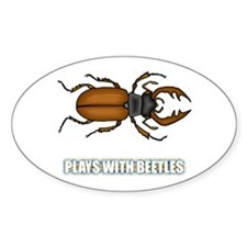 Plays With Beetles Oval Sticker