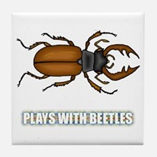 Plays With Beetles Tile Coaster