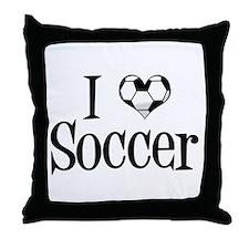 I Heart Soccer Throw Pillow