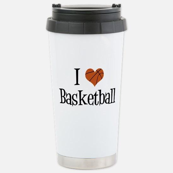 I Heart Basketball Stainless Steel Travel Mug
